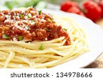 Spaghetti Bolognese On White...