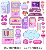 pixel art 8 bit objects. pink... | Shutterstock .eps vector #1349788682