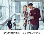 business people talking to each ... | Shutterstock . vector #1349809448