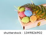 easter eggs in egg cartoon box... | Shutterstock . vector #1349826902