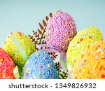colorful easter eggs on a blue... | Shutterstock . vector #1349826932