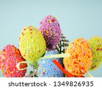 colorful easter eggs on a blue... | Shutterstock . vector #1349826935