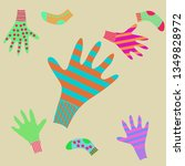 pattern of mittens  socks with  ... | Shutterstock . vector #1349828972