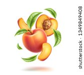 realistic whole peach  half and ... | Shutterstock .eps vector #1349849408
