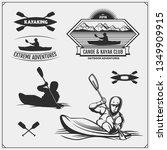 kayak and canoe emblems  labels ... | Shutterstock .eps vector #1349909915