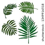 colorful palm leaves hand drawn ... | Shutterstock .eps vector #1349916518
