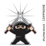 angry ninja with two crossed... | Shutterstock .eps vector #134996048