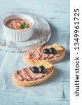 sandwich with chicken liver... | Shutterstock . vector #1349961725