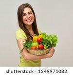 woman holding fresh vegetables... | Shutterstock . vector #1349971082