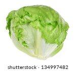 Green Iceberg Lettuce On White...