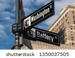 New York City - USA - Mar 11 2019: Close-up view of Signs of Battery Place and Washington Street and Maiden Lane in Financial District Lower Manhattan New York City