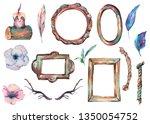 watercolor set of antique... | Shutterstock . vector #1350054752