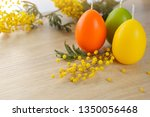 candles in the shape of eggs... | Shutterstock . vector #1350056468