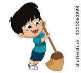kid help their parents to sweep ... | Shutterstock .eps vector #1350063998