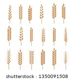 cereals icon set with rice ... | Shutterstock .eps vector #1350091508