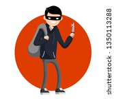 criminal with knife and money...   Shutterstock .eps vector #1350113288