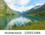 norwegian fjord landscape with... | Shutterstock . vector #135011486