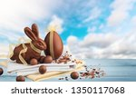 composition with easter eggs ... | Shutterstock . vector #1350117068