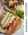 serving of a ppistachio layer... | Shutterstock . vector #1350120008