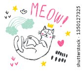 cute funny cat vector set. pet... | Shutterstock .eps vector #1350127325
