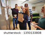 smiling group of diverse work... | Shutterstock . vector #1350133808