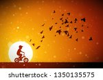 boy on bike and pigeons at red... | Shutterstock .eps vector #1350135575