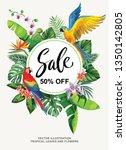 tropical hawaiian sale poster... | Shutterstock .eps vector #1350142805