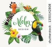 tropical hawaiian flyer with... | Shutterstock .eps vector #1350142808