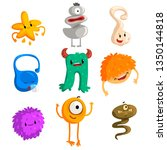 flat vector set of funny little ... | Shutterstock .eps vector #1350144818