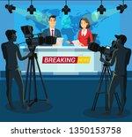 live breaking news cartoon... | Shutterstock .eps vector #1350153758
