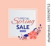 paper art style. spring sale... | Shutterstock .eps vector #1350190712