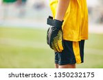 close up of soccer gloves of...   Shutterstock . vector #1350232175