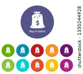 bag dollar icons color set for...