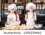 funny girls kids are preparing... | Shutterstock . vector #1350254462