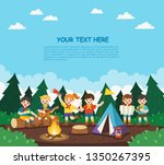children camping out in the... | Shutterstock .eps vector #1350267395