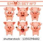 set of cute pig cartoon...   Shutterstock .eps vector #1350298682