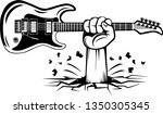 arm raised up with hand holding ... | Shutterstock .eps vector #1350305345