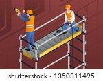constructors on scaffold banner....   Shutterstock .eps vector #1350311495