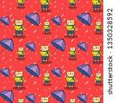 seamless pattern  cute cartoon...   Shutterstock .eps vector #1350328592