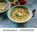 close up pea soup with smoked...   Shutterstock . vector #1350350018
