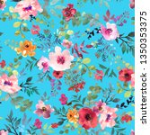 watercolor floral seamless... | Shutterstock . vector #1350353375