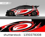 racing car wrap design vector.... | Shutterstock .eps vector #1350378308