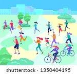 people marathon running sport... | Shutterstock .eps vector #1350404195