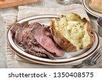 grass fed organic beef sirloin... | Shutterstock . vector #1350408575