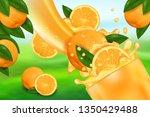 orange juice and splash. flow... | Shutterstock .eps vector #1350429488