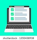 online form survey on pc... | Shutterstock .eps vector #1350438938