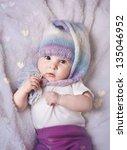 beautiful smiling baby girl in... | Shutterstock . vector #135046952