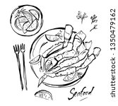 claws of crab on a plate....   Shutterstock .eps vector #1350479162