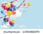 festive frame with balloons and ... | Shutterstock .eps vector #1350480095