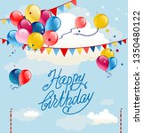 festive frame with balloons and ... | Shutterstock .eps vector #1350480122